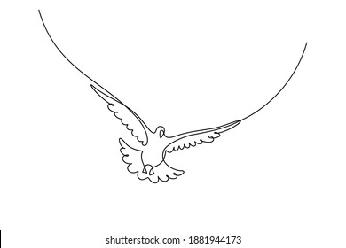 Flying bird in continuous line art drawing style. Pigeon flight minimalist black linear sketch isolated on white background. Vector illustration
