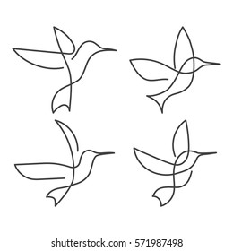 Flying bird continuous line drawing elements set isolated on white background for logo or decorative element. Vector illustration of animal form in trendy outline style.
