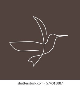 d2d6ff2eb9d98 Flying bird continuous line drawing element isolated on brown background  for logo or decorative element.