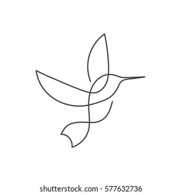Flying bird continuous line drawing element isolated on white background for logo or decorative element. Vector illustration of animal form in trendy outline style.