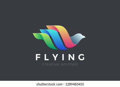 Flying Bird Logo Colorful design vector template. Dove Swan Pigeon Cosmetics Fashion Luxury Logotype concept icon.