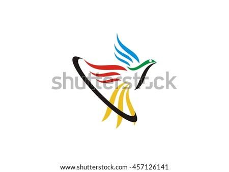flying bird logo design abstract vector stock vector royalty free