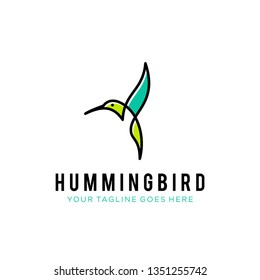 flying bird logo design template with linear concept style. vector illustration of hummingbird/colibri in outline, monoline style