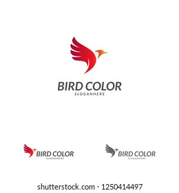 Flying Bird Logo design vector template. Dove Pigeon Logotype concept icon.