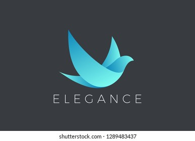 Flying Bird Logo Elegant design vector template. Dove Pigeon Cosmetics Fashion Luxury Logotype concept icon.