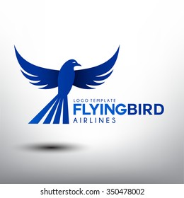 Flying Bird. Logo Template for Airlines Company