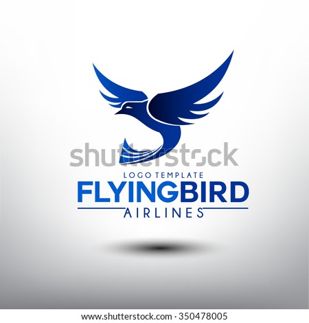 flying bird logo template airlines company stock vector royalty