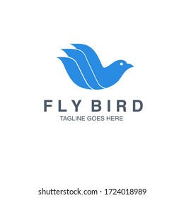 Flying Bird Logo Vector Icon Template. Falcon Modern Logo Design. Blue Bird Logo Shape Vector Awesome Element for Company.
