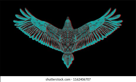 Flying bird on the black background. Illustration with chromatic aberration.Hand drawn sketch birds for tatoo. Vector for t shirt printing.Printed tee. embroidery. Isolated illustration.