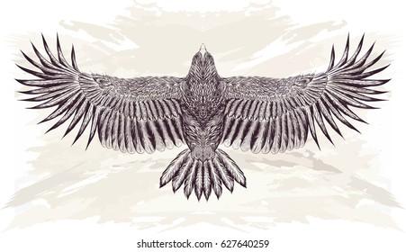 Detailed Hand Drawn Eagle Tattoo Black Vector de stock (libre de ...