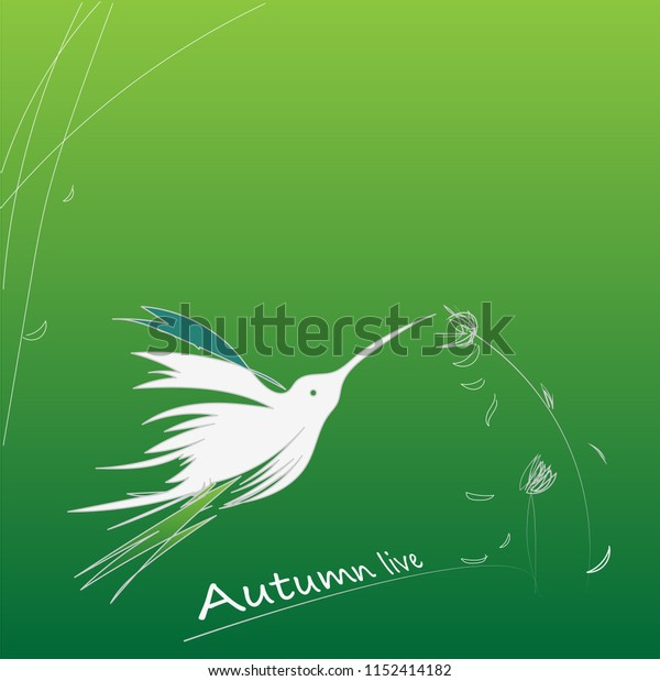 Flying bird: One White Hummingbird on green gradient background. Vector illustration. Autumn live.