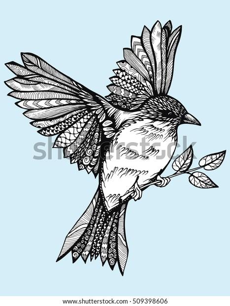 Image Vectorielle De Stock De Oiseau Volant Avec Des Ailes