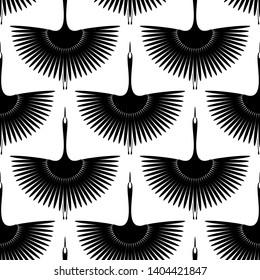 Flying bird. Swan. Seamless oriental pattern. Vector wallpaper.
