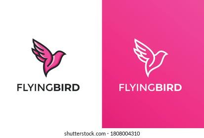 Flying Bird vector illustration Logo - Colorful & minimalist- Commercial useable & Fully Editable