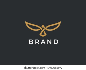 Flying Bird vector logo. Luxury bird, eagle, hawk, vector line logotype design. Universal premium falcon wing symbol logotype.