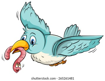 Flying bird with a worm in its mouth