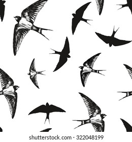 Flying birds  black and white pattern, vector