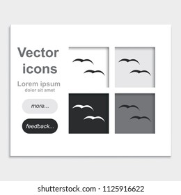Flying birds flat placed on web page template vector icon.