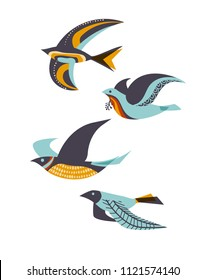 Flying birds, mid-century modern style, eps10 vector