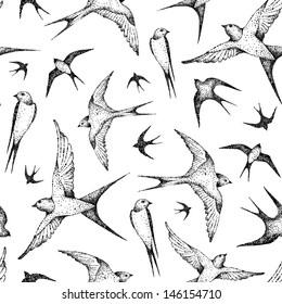 flying birds seamless pattern