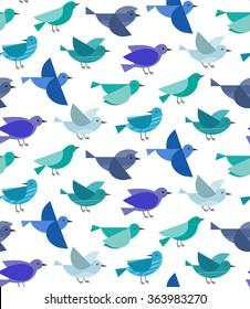 Flying birds seamless pattern. Vector illustration.