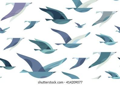 Flying Birds seamless pattern. Vector illustration. Minimalist style