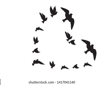 Flying Birds Silhouettes in the shape of heart isolated on white background, vector. Black and white Wall Decals, Art Decor, Wall Decoration. Symbol of freedom and love