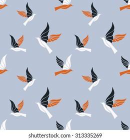 Flying birds vector pattern