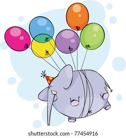 Flying birthday elephant