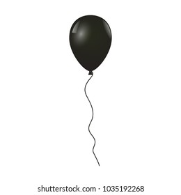 Flying black balloon isolated on white background, Vector illustration