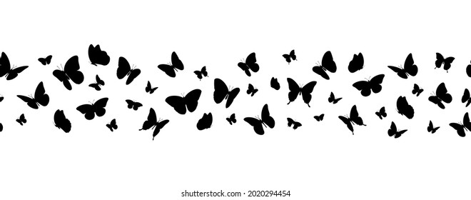 Flying black silhouettes of butterflies seamless horizontal banner. Vector illustration