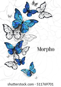 Flying Blue Butterflies morpho and white butterflies on light abstract background.