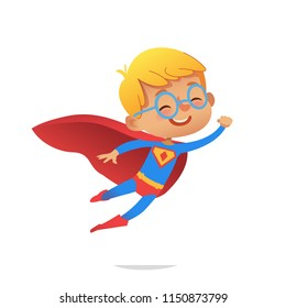 Flying Boy wearing colorful costumes of superheroes, isolated on white background. Cartoon vector characters of Kid Superheroes, for party, invitations, web, mascot.