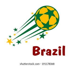Flying brazil soccer or football ball logo with stars in green and yellow colors