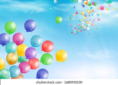 Flying bright Colorful Balloons with confetti, ribbon, serpentine in the blue sky party background. Festive birthday balloons background with space for text. vector illustration.