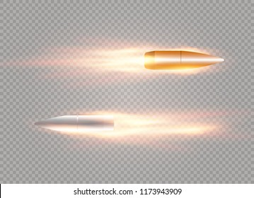A flying bullet with a fiery trace. Isolated on a transparent background. Vector illustration.