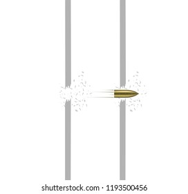 Flying bullet vector. Bullet piercing through a wall or glass