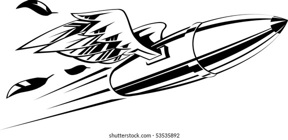 Flying bullet with wings. Vector illustration black and white.