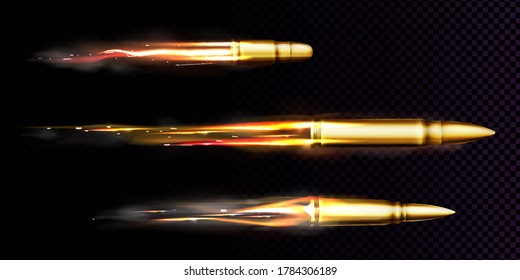 Flying bullets with fire and smoke traces. Vector realistic set of fired bullets different calibers fired from weapon, gun or pistol with smoke trail isolated on transparent background