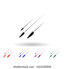 flying bullets multi color icon. Elements of army & war set. Simple icon for websites, web design, mobile app, info graphics