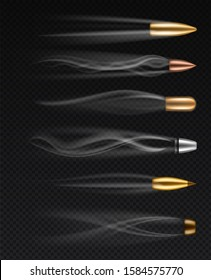 Flying bullets. Realistic different fired bullet in motion with smoke traces, gunshots firearm shooting metall bullets, isolated vector firing weapons set