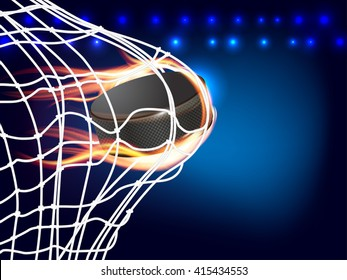 Flying burning hockey puck in goal - place for your text. Vector illustration.