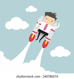 Flying businessman with jetpack