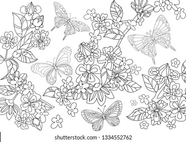 flying butterflies around tree of flowering cherry for your coloring book