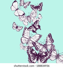 flying butterflies, ink drawing, vector illustration