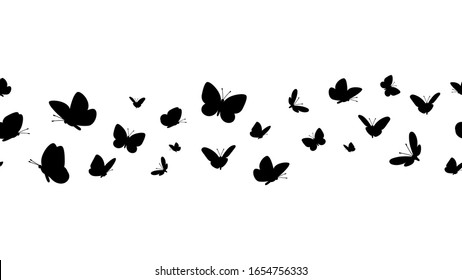 Flying butterflies silhouettes. Butterfly seamless border. Black forest and garden insects vector pattern