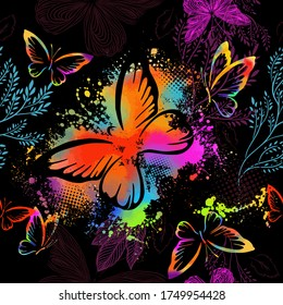 Flying butterflies in watercolor. Seamless background. Mixed media. Vector illustration