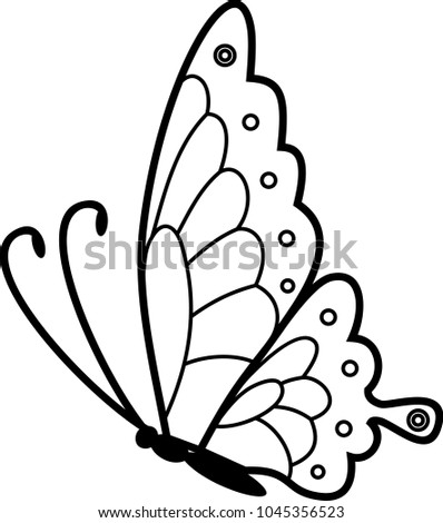 flying butterfly coloring page stock vector royalty free
