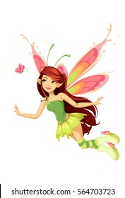Flying butterfly fairy vector illustration