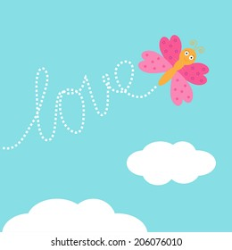 Flying butterfly insect. Dash word Love in the sky. Card Flat design. Vector illustration